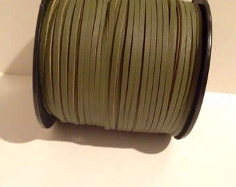 2 Yards Olive Green Suede Lace Leather Cord  3x1.5mm
