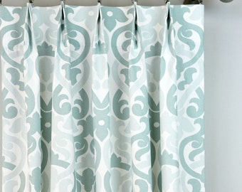 Light Pale Snowy Blue White Alex Damask Floral Curtains   Pinch Pleat   84  96 108