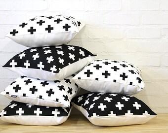 White Swiss Cross Throw Cushion Cover 18 x 18 inch