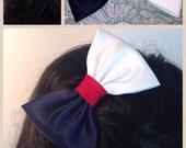 Three Tone Medium Satin Hair Bow, Girls Hairbow, Fabric Hir Bow,  Extra Large Hair Bow, Retro Hair Bow 003