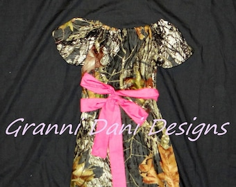 mossy oak camo short sleeve peasant dress baby toddler girl 6 9 12 18 24 months 2t 3t 4t 5t
