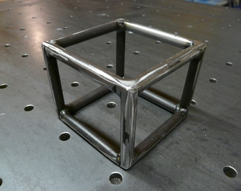 Industrial Steel Cube Sculpture or Paperweight