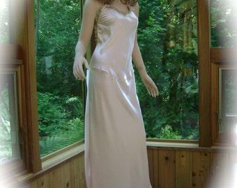 Peach Silk Lingerie Nightgown in Silk Peach Charmeuse & Silk Aqua Green Chiffon Lingerie Gown w/ Pearls