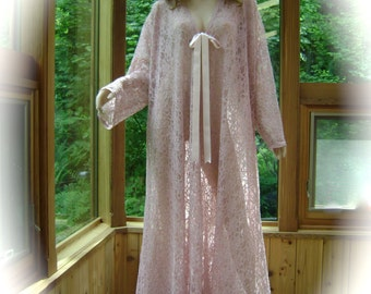 Bridal Robe in Floral Antique Rose Lace  and Silk Ties