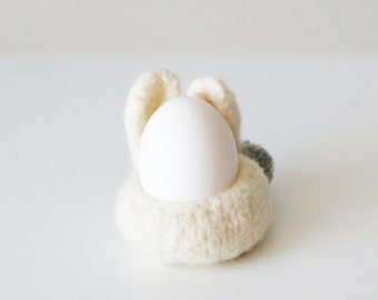 "DIY Knitting PATTERN - Knit Wool Felt Bunny Bowls (in 3"", 4"", and 7"" diameter)"