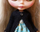 BLYTHE doll hand knit luxury angora cardigan sweater - midnight black