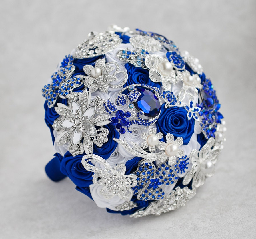 Royal Blue And Silver Wedding Flowers: Brooch Bouquet. White Royal Blue And Silver Brooch Bouquet