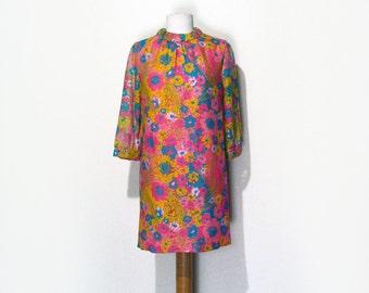 60's Bright Floral Mini Dress
