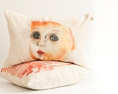 Pink Lady and striped orange pillow/ coral orange cushion set