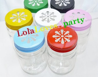 COLORs You Pick Daisy Mason Jar Lids PiNk Black, Red, Yellow, White, Green, Gold & Pewter Daisy Trendy Vintage Inspired ... 24 Lids
