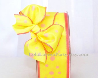 PINK LEMONADE Ribbon - PrettY Packages,Weddings, Gift Wrapping,Bows, Tags, Cards,Crafts, Shower, Party Favors