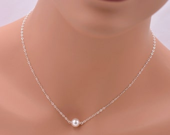 8 Floating Pearl Necklaces, Set of 8 Bridesmaid Necklaces, Sterling Silver Necklace 0084