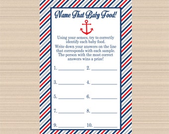 Baby Food Digital Game Nautical Baby Shower