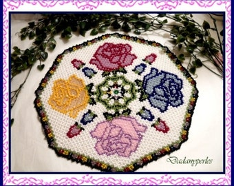 pattern bead weaving doily the roses