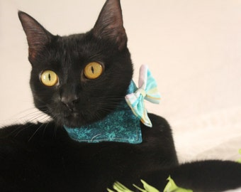 Aqua Wedding Cat Collar with Bow Tie