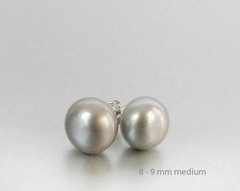 Gray Pearl Stud Earrings, Bridesmaid Earrings, Grey Pearl Studs, 8mm to 9mm