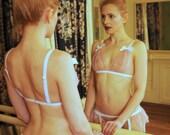 Garter belt in pink lace - frilly pink and white wedding lingerie - BLUSH Garter Belt