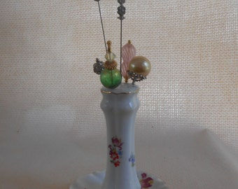 Porcelain Hat Pin Holder Made by Aichi in Seto Japan