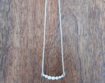 Curved silver bead necklace, recycled silver ball necklace, silver granulation