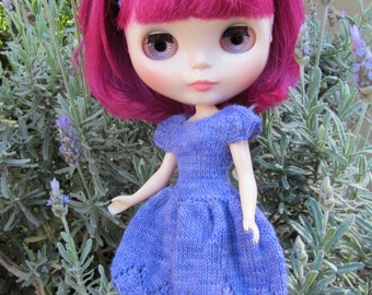 Lovely Lavender with Lace - a Sweet Dress hand knitted for your BlytheStar