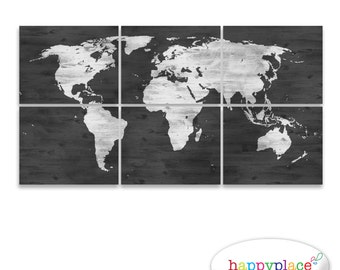 Black and White World Map Print with Timber Wood Grain Texture. Office Wall Art in dark grey & whitewash map. Digital Printable Files only.
