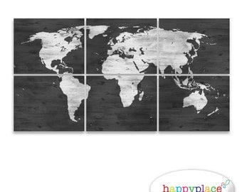 Watercolour world map poster large world map with watercolor black and white world map print with timber wood grain texture office wall art in gumiabroncs Image collections