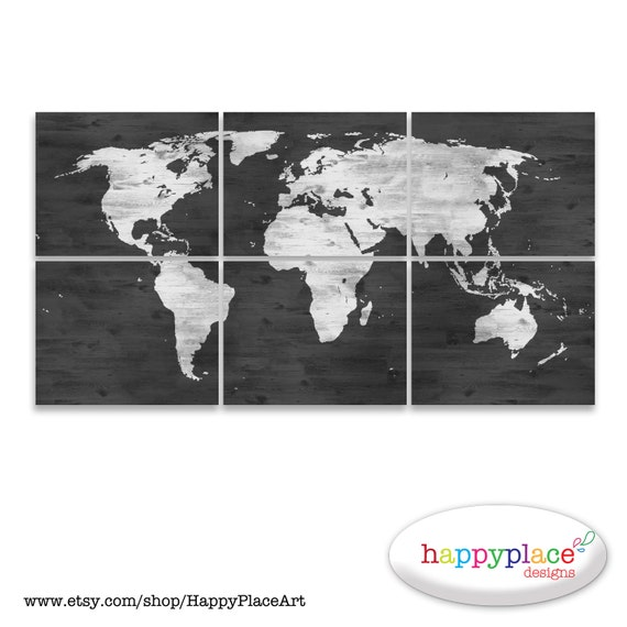 Black and white world map print with timber wood grain black and white world map print with timber wood grain texture office wall art in dark grey whitewash map digital printable files only gumiabroncs Images