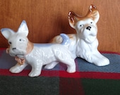 Pair of Vintage Scottish Terrier Figurines - Cute Japan Ceramics
