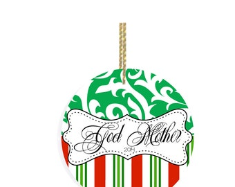 Personalized Christmas Ornaments Godmother Ornament with Christmas Stripes