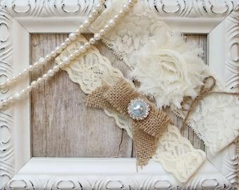 Garter w/Toss - Ivory Wedding Garter Set, Rustic Bridal Garter Set, Lace Garter Bridal Garter, Rustic Wedding Garter Set, Something Blue