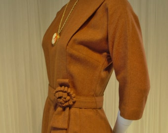 "Mid Century Carmel Brown Mocha Flannel Vintage R & K Original Shift Dress with Belt 37"" Bust"