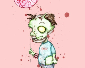 Zombie Balloon Fine Art Print