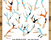 Modest Mouse Painted Antlers Gig Poster - Ommegang Brewery in Cooperstown New York