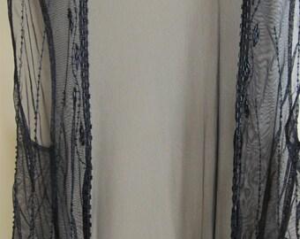Vintage Beaded Black Nylon Mesh Vest