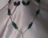 "22"" Silver plated chain necklace & earring set, Emerald Green Coral and lava rock with chunky diamond shaped pendant, FREE SHIPPING"