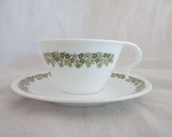 Vintage Green Crazy Daisy or Spring Blossom Corelle Livingware Teacup and Saucer - Tea Cup and Saucer - Coffee Cup - Tea Cup - 4 Available