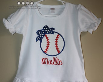 Baseball with Bow Applique on White Ruffle Shirt