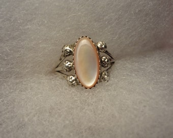 Pink Mother of Pearl Silver Ring 925 Sterling I love Pink Gift Birthday Anniversary size 8 Gift Pretty In Pink