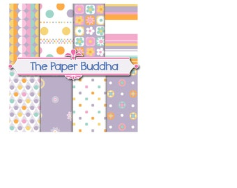 Festive Purple Digital Paper, 8 12X12 jpg instant download