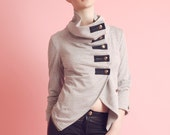 Tuck Madison Zip-Back Military Jacket (Slim Sleeve) with buttons and studs - Grey Heather, Cobalt Blue, White, Bubblegum Pink XS, S, M, L