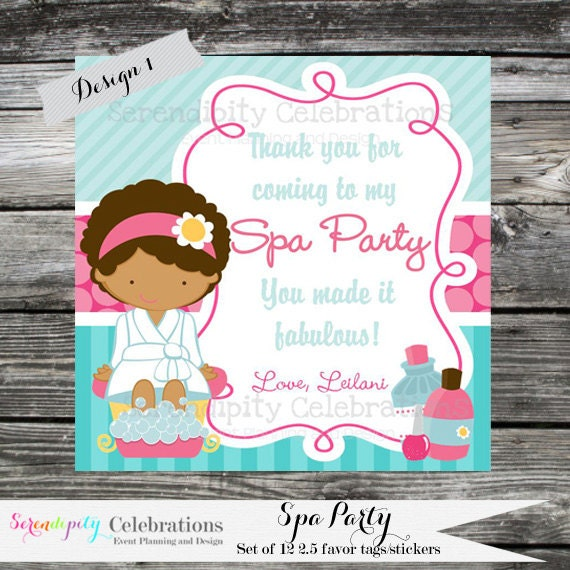 DIY Printable Favor Tags Spa Party Gift Tags Square Thank
