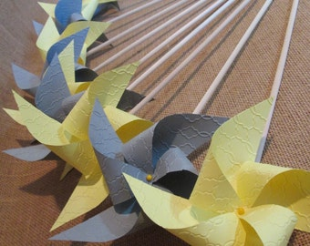 Pinwheels - 50 Custom Designer Solid Color Embossed Wedding Pinwheels