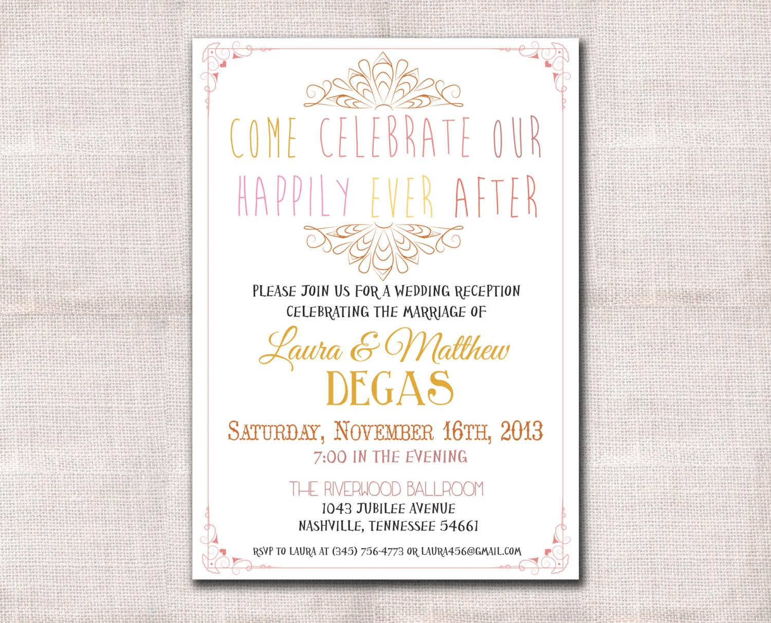Invitation Wording For Wedding Reception: Wedding Reception Invitation Custom Printable 5x7