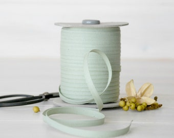 """Sage Cotton Ribbon - 5, 20 or 109 Yards - 100% Cotton from Italy - 1/4"""" Wide - Light Green Color Ribbon - Eco Friendly - Wedding Ribbons"""