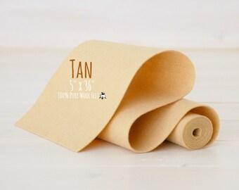 "100% Merino Wool Felt Roll - 5"" x 36"" Wool Felt Roll - Wool Felt Color Tan-7100 - Merino Wool Felt - Tan Color Wool Felt - Waldorf Doll"