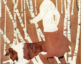 PALS! Remarkable Coles Phillips Digital VINTAGE  Illustration. Edwardian Lady In Woods With Her Dog. Vintage DOG Digital Download. Print.