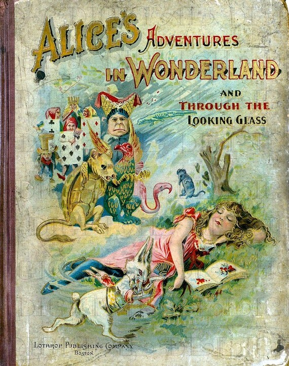 Vintage Book Cover Illustration : Antique victorian alice in wonderland book cover vintage