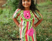 Sweet and Sassy Peasant Dress in Fun and Funky Pink, Green and Black Zebra Print....with Ruffled Bib - JustSewStinkinCute
