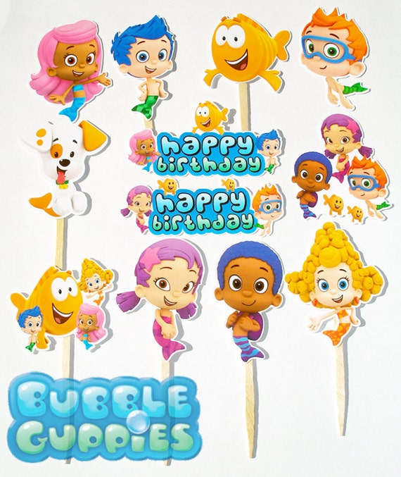 Items similar to 12 bubble guppies birthday party cupcake cake toppers on etsy - Bubble guppies birthday banner template ...