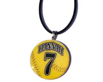 Personalized Softball Necklace, Sports Jewelry, Softball Pendant, Softball Charm, Team gifts, Gifts for her